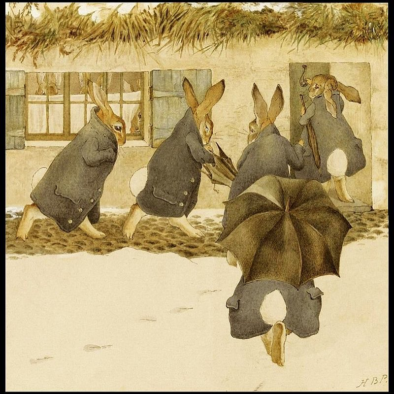"""Beatrix Potter's """"The Rabbit's Christmas Party"""" is a frieze made in 1890. This work of art is like looking into my soul.  Here's the story: """"On a wet December day, the rabbits gathered for a Christmas party. Rabbits don't like rain, so they wore raincoats. One rabbit brought an umbrella."""""""