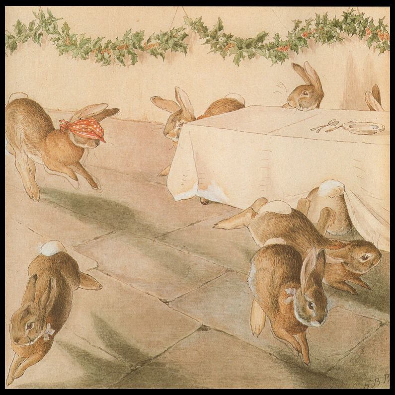 """""""When the piper became tired, the rabbits started a game of """"Blind Man's Bluff."""" One rabbit would be blindfolded. Then that rabbit would try to tag the other rabbits. When a rabbit was tagged, he or she would be blindfolded and the game would start again."""" Taken from Beatrix Potter's frieze The Rabbit's Christmas Party"""