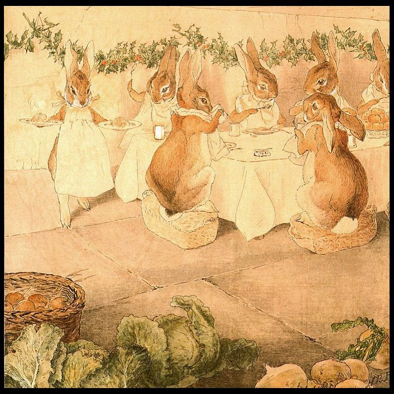 """""""The room was decorated for Christmas with holly on the walls. When the rabbits sat down to eat, there were not enough chairs. So some rabbits sat on baskets."""" Taken from Beatrix Potter's frieze The Rabbit's Christmas Party"""