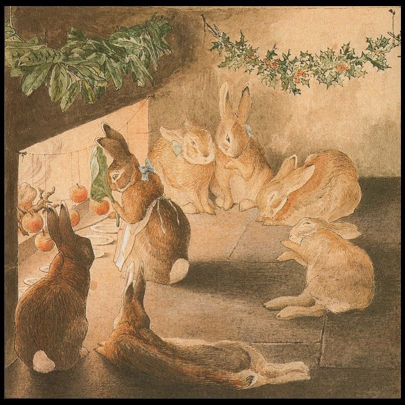 """""""For dessert, the rabbits roasted apples. They tied apples to strings and hung them by the fire. The rabbit who watched them used a cabbage leaf to keep her face from getting too hot. After all of the food and exercise, some of the rabbits had trouble staying awake around the warm fireplace."""" Taken from Beatrix Potter's frieze The Rabbit's Christmas Party."""