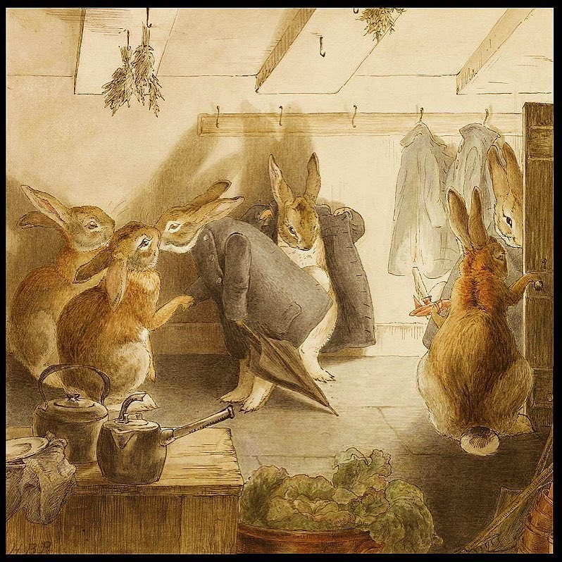 """""""After dessert, it was time to go. The rabbits found their coats by candlelight. Then they said goodbye all around before they set out."""" Taken from Beatrix Potter's frieze The Rabbit's Christmas Party."""