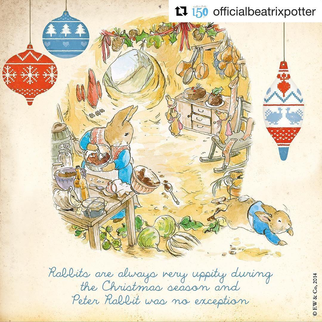 """I'm reposting this from the always lovely Beatrix Potter IG account. Rabbits really do love Christmas and you can see this clearly in Potter's """"The Rabbit's Christmas Party"""". I dearly recommend checking out the paintings"""