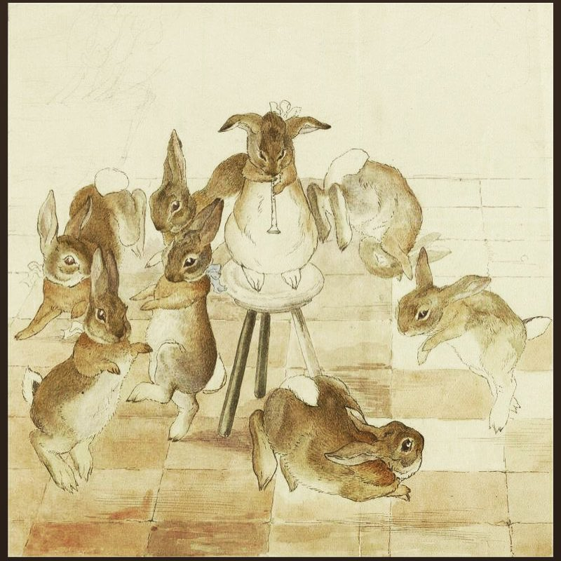 """""""After dinner, the table was pushed aside, and the rabbits danced in a circle. One rabbit provided music by playing the pipe."""" Taken from Beatrix Potter's frieze The Rabbit's Christmas Party"""