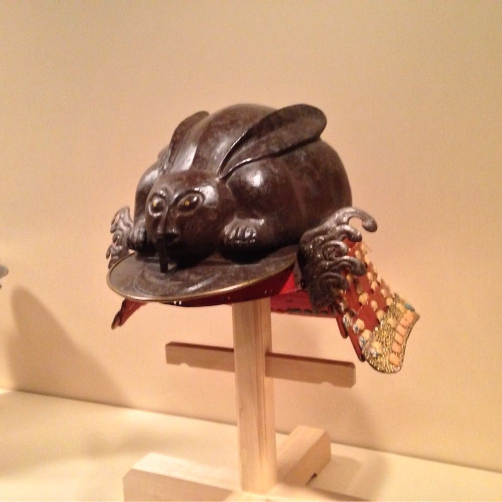 When I visited the Metropolitan museum in New York I saw this samurai helmet in shape of a crouching rabbit.  These helmets are called Kabuto and they were worn by ancient Japanese warriors.  They became an important part of the traditional Japanese armour worn by the samurai class and their retainers in feudal Japan.  This specific helmet is from the 17th century.