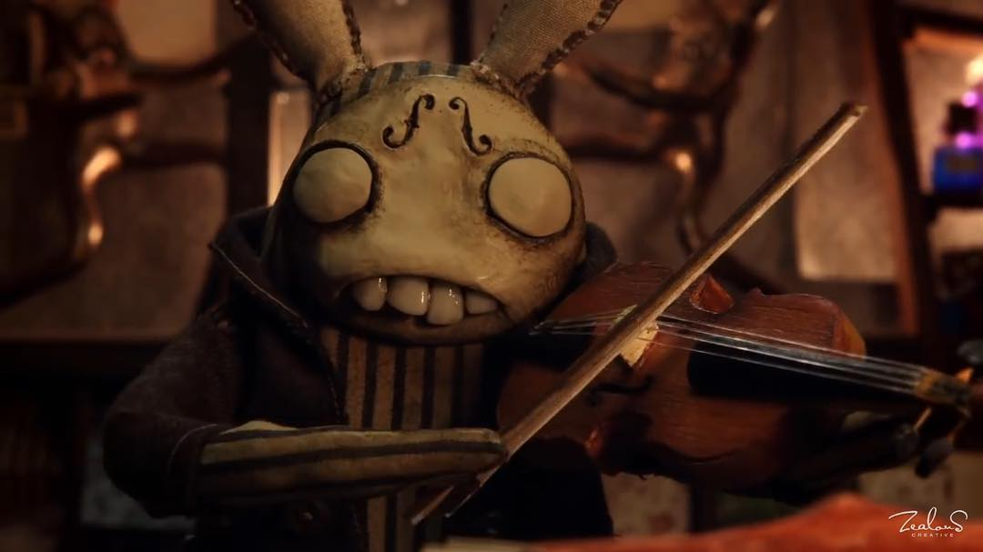 """Even though the short film The Maker (2011) does not specifically say it's main character is a rabbit, it is hard not to see the resemblance.  The """"Tim Burton-esque"""" rabbit-looking creature that we encounter in the stop motion picture is the brainchild of Australian film maker Christopher Kezelos.  This thought provoking film is about a violin playing rabbit's race against time to make the most important and beautiful creation of his life.  When explaining what themes The Maker is addressing, Christopher Kezelos said this: """"The Makerexplores the preciousness of our moments on earth, the short time we have with loved ones and the enjoyment of one's life's work and purpose."""" The soundtrack is taken from one of Australia's most popular and innovative composers of classical music, Paul Halley.  Check out the movie at: www.themakerfilm.com"""