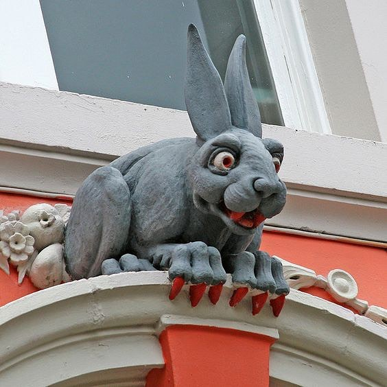 The Vampire Rabbit of Newcastle is a mysterious grotesque gargoyle that you can find above the rear door of the historic  St Nicholas Cathedral.  Nobody really knows the background story behind the vampire rabbit, but it is rumored that the rabbit was placed there to scare off grave robbers.