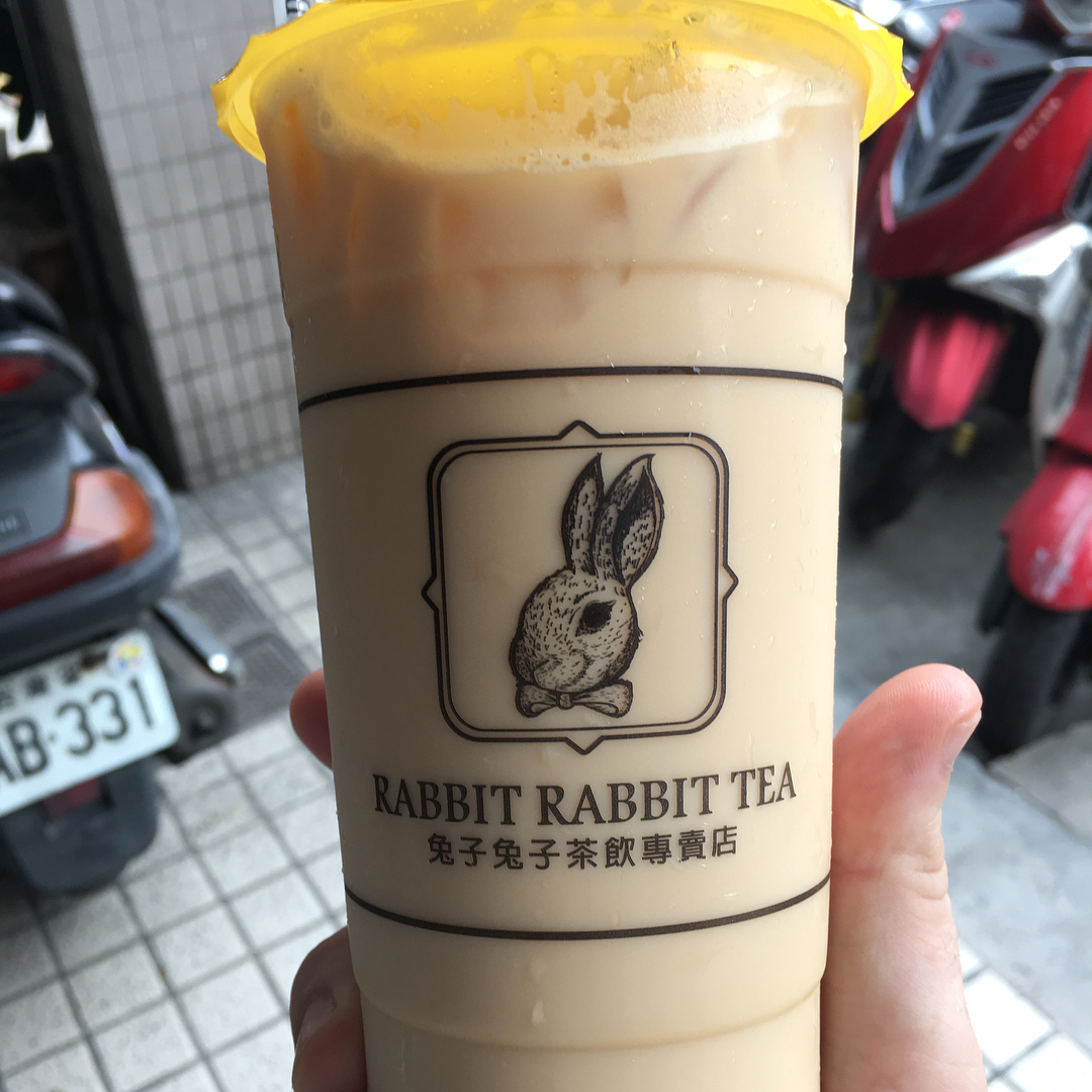 """RabbitsEverywhere is back from a longer hiatus and this time around the rabbit post comes from Taoyuan City in Taiwan.  I just visited a great tea shop very nicely named Rabbit Rabbit Tea. (@rabbitrabbittea ) It is a chain of tea shops and I had a very nice Lady gray tea latte. Good stuff! 🥛  As for trivia: when I googled rabbits and tea, I came across something called """"rabbit manure tea"""". It is apparently a super great fertilizer for crops. This is because rabbit manure is higher in nitrogen than sheep, goat, pig, chicken, cow or horse manure. As maybe some of you know, plants need nitrogen to produce alush green growth."""