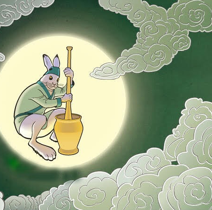 """The moon rabbit is a folklore character that fascinates me because it exists in many cultures around the world.  Throughout various civilizations people have looked up onto the moon and have concluded the same thing, namely that they seen the shape of a rabbit. You can e.g. read stories of the Moon Rabbit from the ancient Aztecs and several eastern cultures.  This post will focus on the Chinese version of the Moon Rabbit, also known as the Jade Rabbit.  In Chinese folklore we follow three immortals who reincarnated themselves into three poor old people. They begged for food from a fox, a monkey and a rabbit. The fox and monkey both gave food to the immortals.  When they approached the rabbit, the rabbit told them that he didn't have any food. Instead the rabbit told them: """"you can eat me"""" and jumped into the fire. The immortals were so moved by the rabbit's actions and sent it to the moon to become an immortal jade rabbit.  Ever since, the jade rabbit stayed in the Moon Palace to accompany the Moon goodness Chang'E and produced immortal medicine for those who live in heaven."""