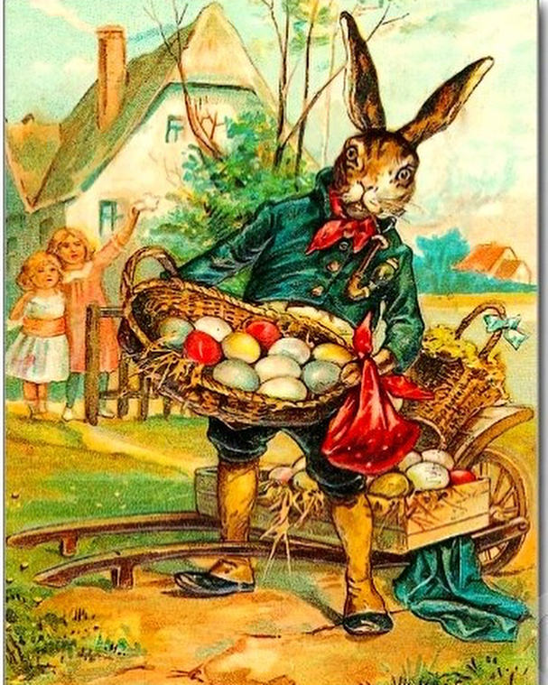 Because today is Easter Day, let's highlight one of the most beloved folklore figures of all time, the Easter Bunny.  The Easter bunny (or Easter Hare) is a figure that often travels with a basket of colored eggs to hand out to Children. The character is a major symbol for Easter, at least in Western countries, but where does the story of mythical rabbit come from?  The Easter Bunny was first popularized as a symbol of the season by the German Protestants. It is likely they were the ones to invent the myth of the Easter Bunny for their children. Even in earliest folklore, the Easter Bunny came as a judge, hiding decorated eggs for well-behaved children.  The story of the OsterHase (The Easter Bunny) followed German immigrants to the American colonies in the 18th century and the folklore spread across the United States.  Some say that the origins of the Easter Bunny comes from pagan traditions i.e. the Saxon Goddess Eostre, whilst other say it comes from the Christian notion that rabbits were associated with the Virgin Mary, and with the season itself.  In any case, Happy Easter everyone!