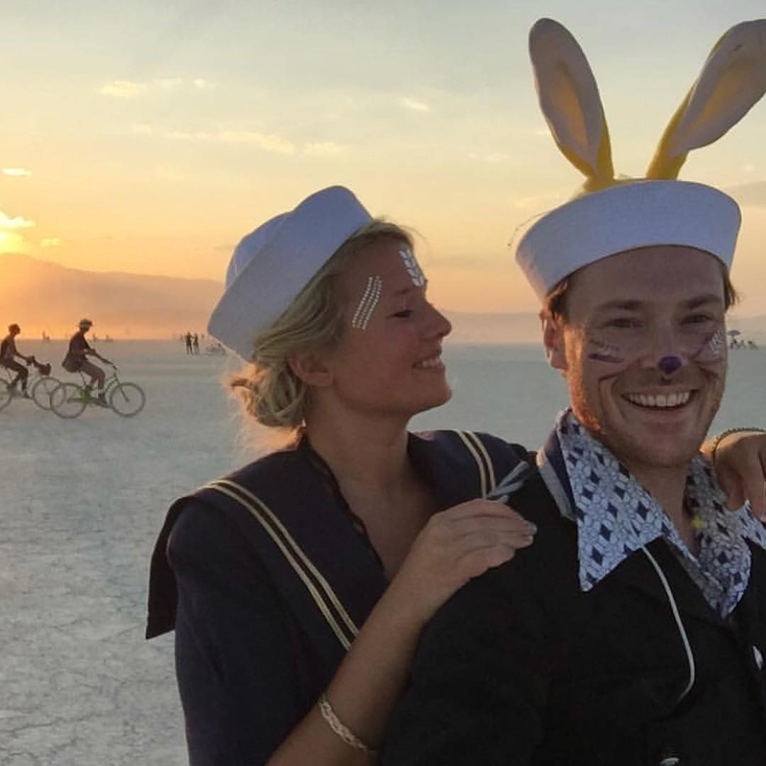 """On my quest to find and promulgate rabbit influence my wife and I went to Burning Man in the Nevada Desert. I wanted to see if the week-long creative playground that is Burning Man had some rabbits to share.  I was content to see that rabbit influence had seeped into Burning Man in many ways, not only were many people dressed as rabbits. Our long-eared friends were also present among the of hundreds of events, camps, bars and art installations all across Black Rock City (The name of the society built around Burning Man). As for other forms of rabbit influence, I can mention that Burning Man's newsletter is called """"The Jackrabbit speaks"""". As for my own rabbit contribution, I went as a navy officer with rabbit ears one night."""